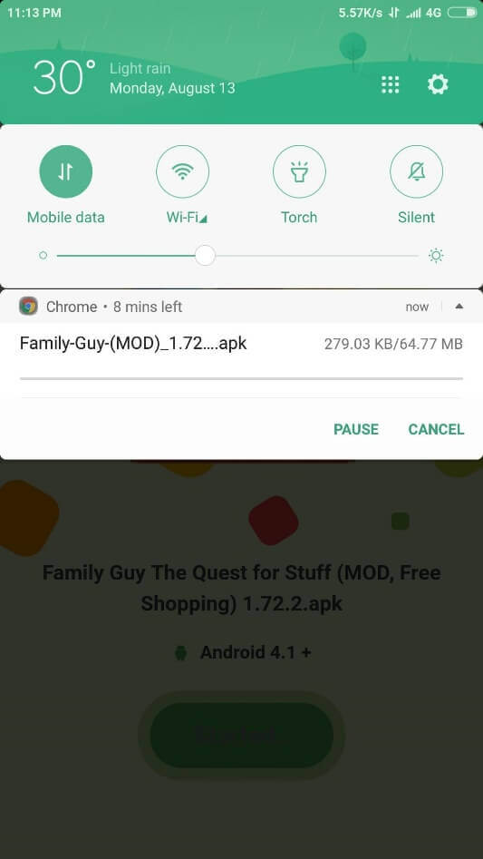 downloading started
